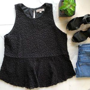 Ann Taylor LOFT Black Crochet Peplum Top